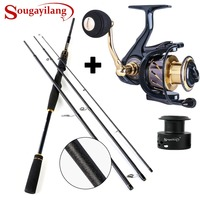 Sougayilang Spinning Fishing Rod Reel Combos 4 Section M Power Lure Fishing Rod and 13+1BB Spinning Reels for Bass Trout Fishing