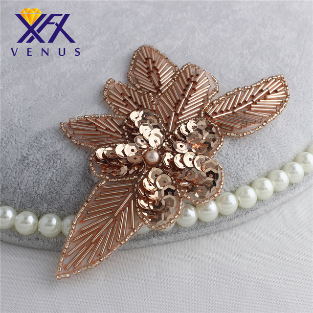 XINFANGXIU wholesale leafs beaded sequin rose gold tube Crystal Rhinestone  applique for DIY headband garment decorations fd39078e5fe0