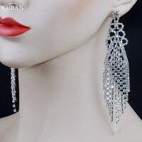Chran Sparkling Silver Rhinestone Crystal Evening Party Earings Wedding Bridal 6 5 Long Dangle Chandelier Drop