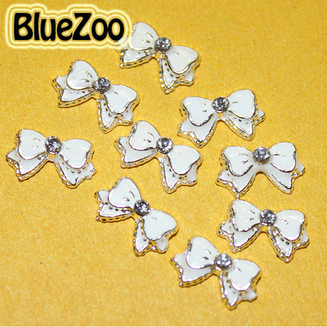 BlueZoo 10pcs/pack White Alloy Bow Tie 3D Nail Art Rhinestone Decor For DIY Nail Stud DIY Beauty Tips Nail Design Accessories