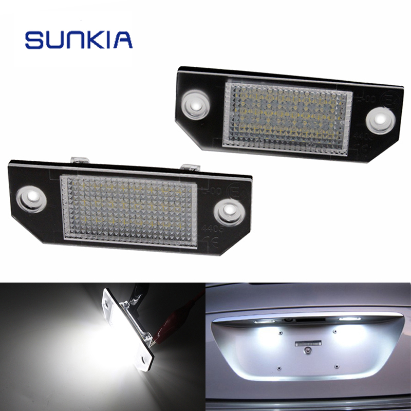 2Pcs Set SUNKIA LED Number License Plate Lights Pure White Color For Ford Focus C MAX
