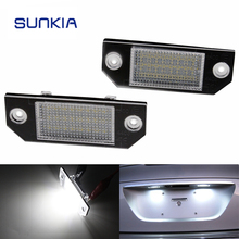 2Pcs/Set SUNKIA LED Number License Plate Lights Pure White Color For Ford Focus C-MAX MK2 03-08 Free Shipping