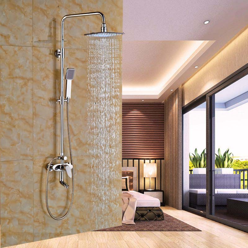 LED 8 Rain Shower Column Tub Spout Mixer Tap Chrome Shower Sprayer W Hand Shower