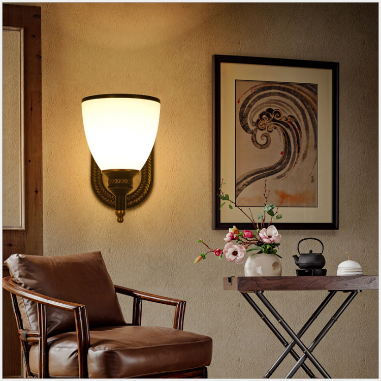 American Country Wall Lamp Bedroom Bedside Lamp Mirror