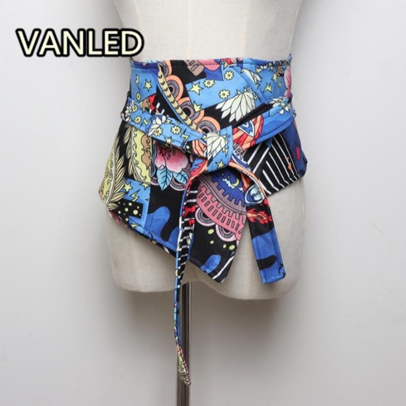 Fashion Chinese Style Print High Waist Slim Width Belt Woman Fashion Cummerbund Accessary