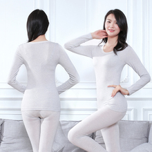 2pcs Suit Slim Ladies Underwear Thermal Bottoms Solid Color Bottoming Shirt Thin Round Neck Women Underwears Tops+Pants