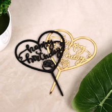 Heart Shape Acrylic Happy Birthday Cake Topper Golden Black Top Flag Decoration for  Party Wedding Supplies