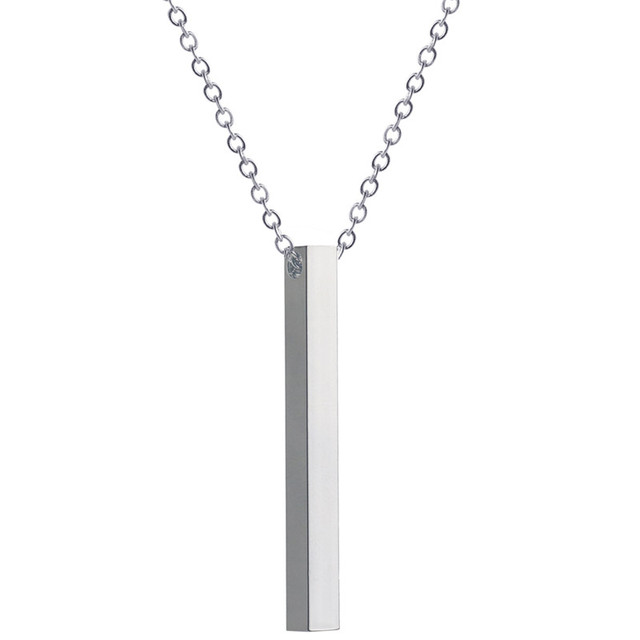 ac851497c3 Custom Personalized Vertical Bar Necklace Gold Engraved Date Name Pendant  Necklace Women Party Jewelry Anniversary Mom Gift