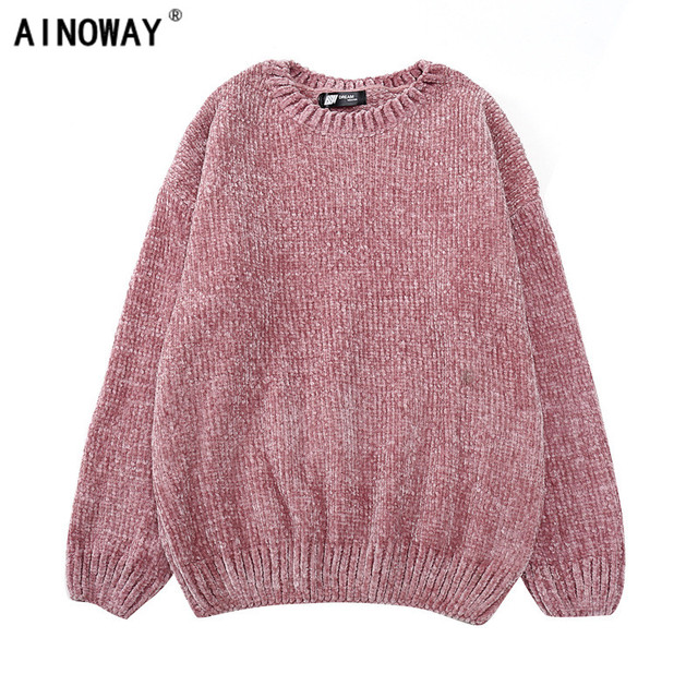 6897867b0 High quality vintage Women chic Gold Velvet knit sweaters o neck ...