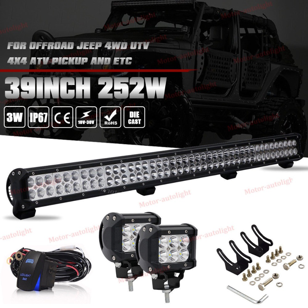 39 Inch 252W Dual Row LED Light Bar Spot Flood Combo + Wiring Kit Truck 4WD +2pcs 18W Led work light