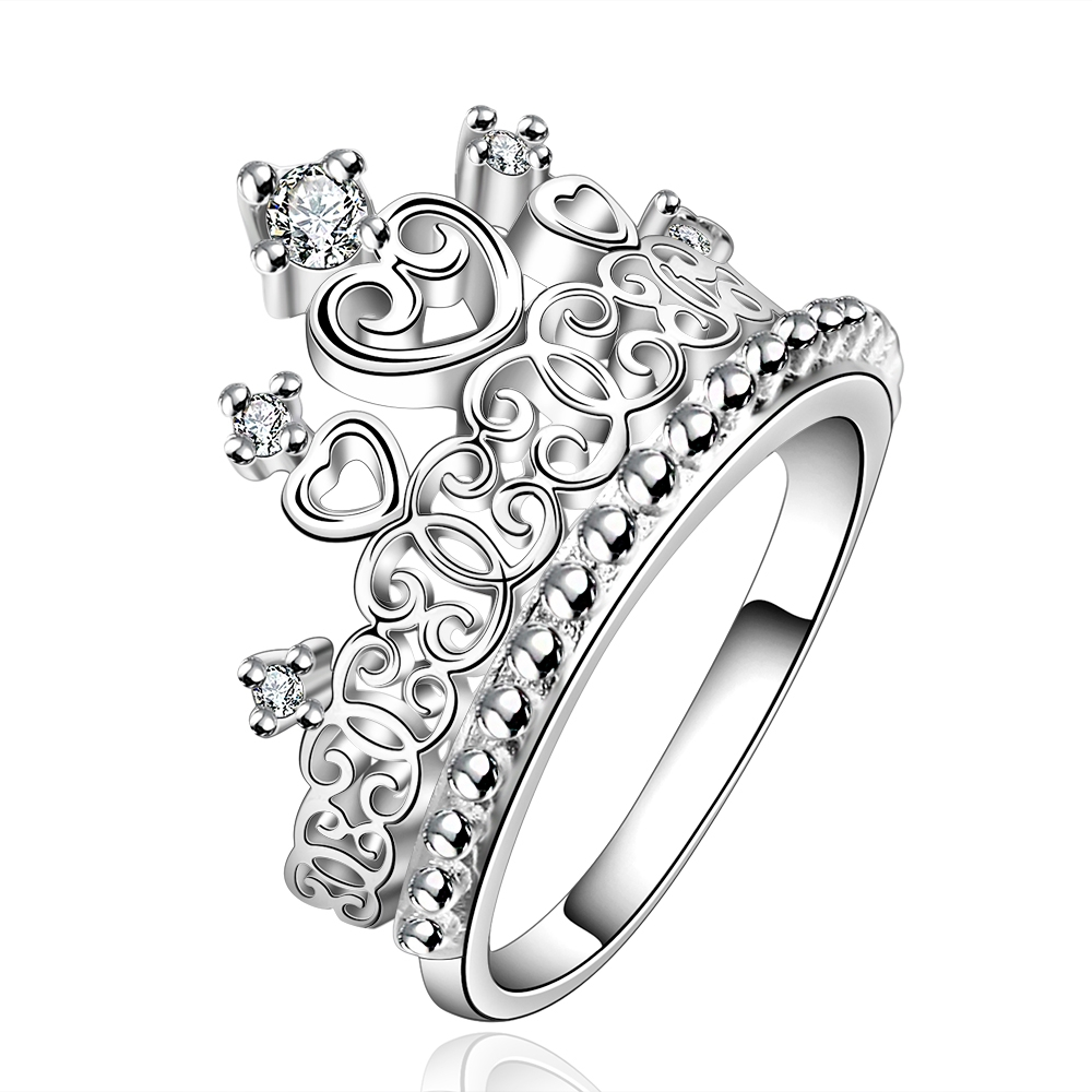 Megrezen Heart Engagement Ring Bague Femme Costume Jewelery Bague Crown  Silver Wedding Rings Female With White