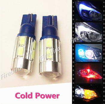 2 x T10/W5W/194 5630 10SMD with lens LED white blue red green yellow ice blue pink clearance parking lights bulb for DC12V car image
