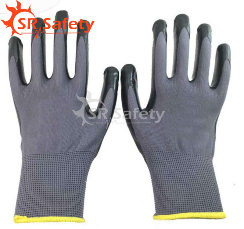 Free Shipping !!! SRSAFETY 12 Pairs Nitrile Coated Working Gloves,Grey/Black