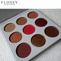 Flossy 9 colores de sombra de ojos paleta naked shimmer mate paleta de sombra de ojos de color burdeos para el verano