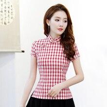 Летняя женская рубашка, топы в винтажном китайском стиле, женская блузка с коротким рукавом и пуговицами, Qipao Mujer Camisa, Размеры S M L XL XXL XXXL 9970