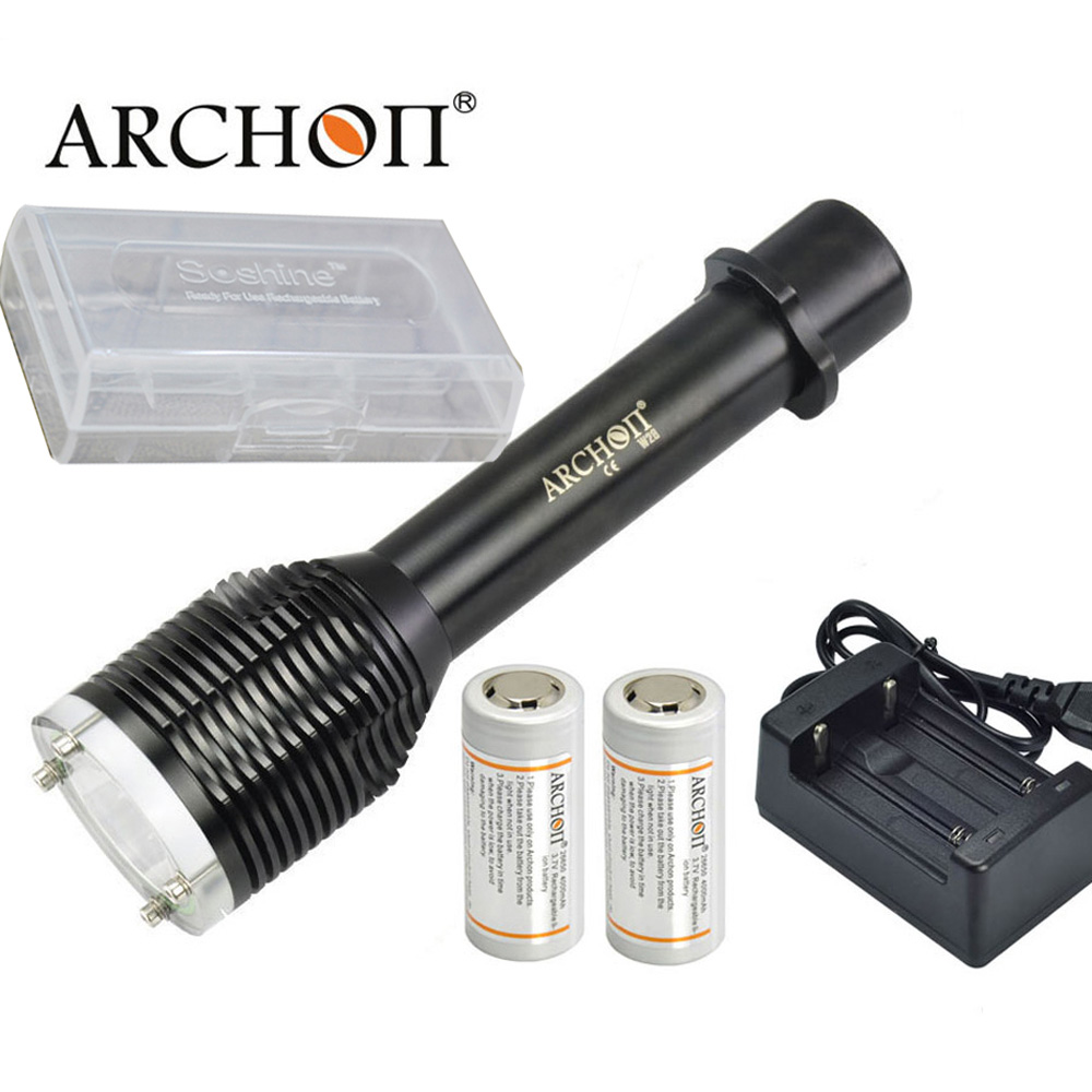 ARCHON W28 D22 Diving Flashlight CREE XM-L2 U2 1000 lumens 100 Meters underwater waterproof torch with battery and charger
