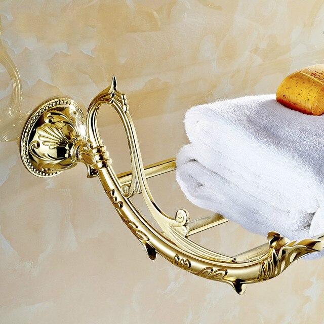 Accessori Bagno Ottone Oro.Us 189 56 Auswind Antique Gold Leaf Portasciugamani Art Design Per L Europa Arredo Bagno Oro In Ottone Massiccio Accessori Da Bagno Di Lusso Set In