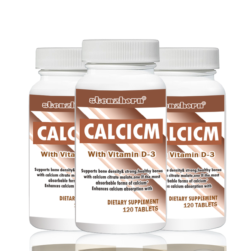 3 Bottles Calcium + Vitamin D3  500mg 120 Pcs Support Healthy Bones