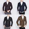Top Quality Vintage Casual Slim Fit Dress Suit Men Tuxedo Double Breasted Men Plaid Blazer Jacket Black Navy Khaki