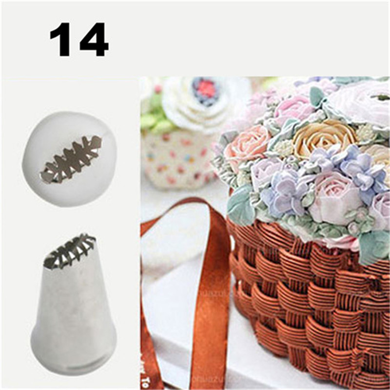 TTLIFE #14 Stainless Steel Cake Icing Piping Nozzle Pastry Tips For Sugar Craft Cream Cupcake Decorating Tools Basket Weave Tips