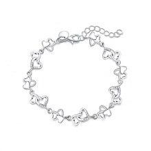Красивый великолепный Женский браслет сердце Прекрасный Кристалл цепь мода свадьба партия серебряный милый леди хороший браслет ювелирные изделия LH007