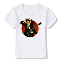 2017 Kids Print AC DC Band Rock T Shirt O Neck Short Sleeve Boy Girl Acdc
