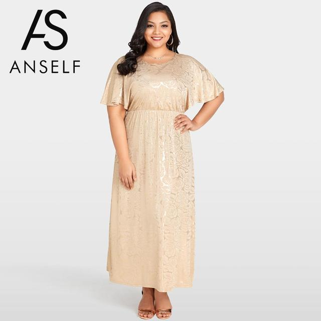 Women Plus Size Maxi Dress Shining Floral Gold Stamping Cape Sleeves