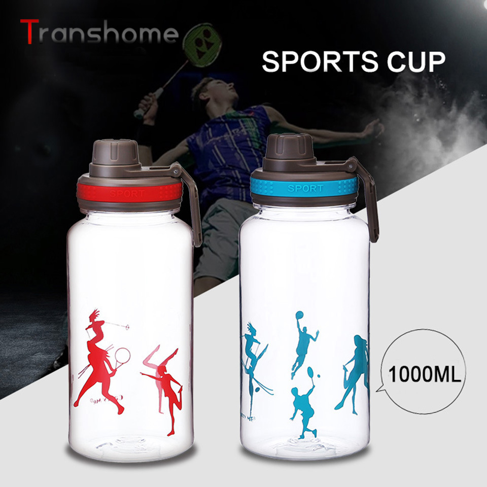 Transhome Large Capacity 1000ML Sports Water Bottle Clear Leak proof Plastic Direct Drinking Bottle For Sport Travel Bicycle