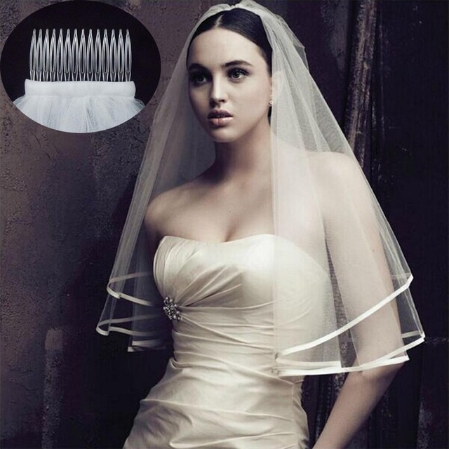 Elegant Wedding Accessories Two Layer Ribbon Edge White Ivory Wedding Veils Bridal Veil With Comb