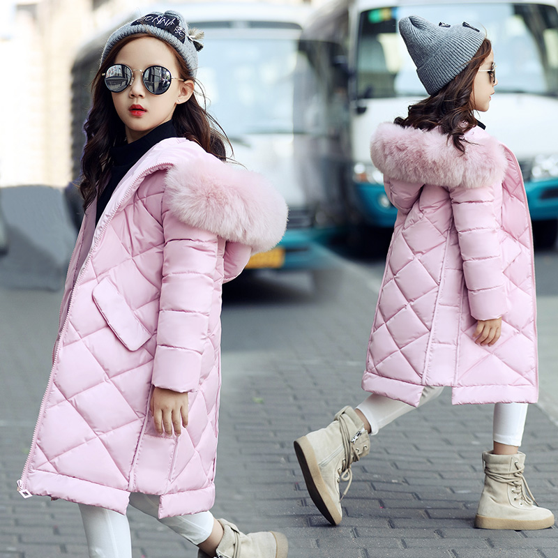 New Fashion 2017 Jackets Winter Warm Thick Down Coats Girls Zipper Hooded Pink Down Jackets For Kids Outwear Manteau Fille Hiver tuhao lady down cotton pure color manteau femme hiver thick warm jackets 2017 new autumn winter women hooded long coats lw20