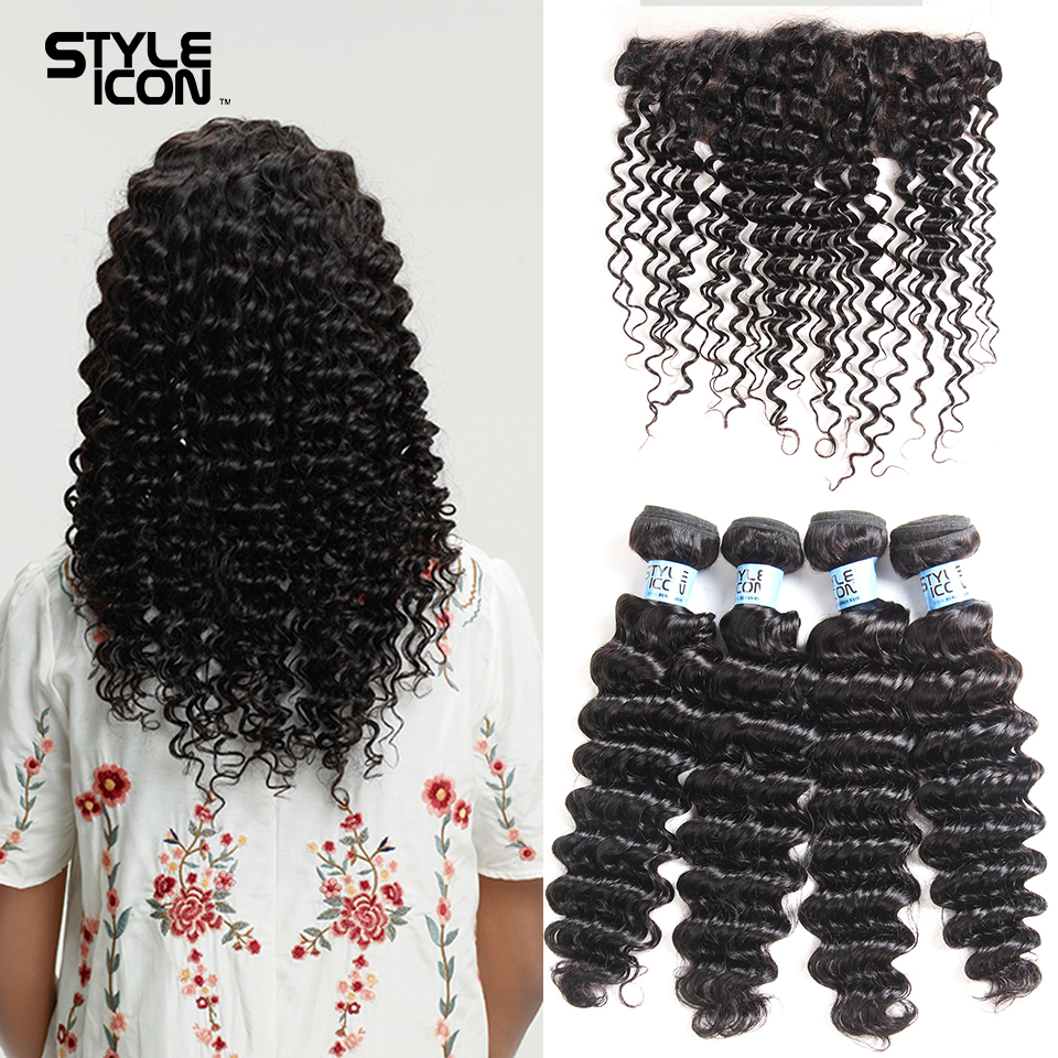 Styleicon Deep Wave Bundles With Frontal Human Hair 4 Bundles With Closure Brazilian Hair Weave Bundles With Frontal Closure