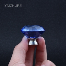 Blue Decoration 40mm 10Pcs K9 Crystal Glass Material Drawer Handle Furniture Accessories Dresser Cabinet Door Bookcase knob