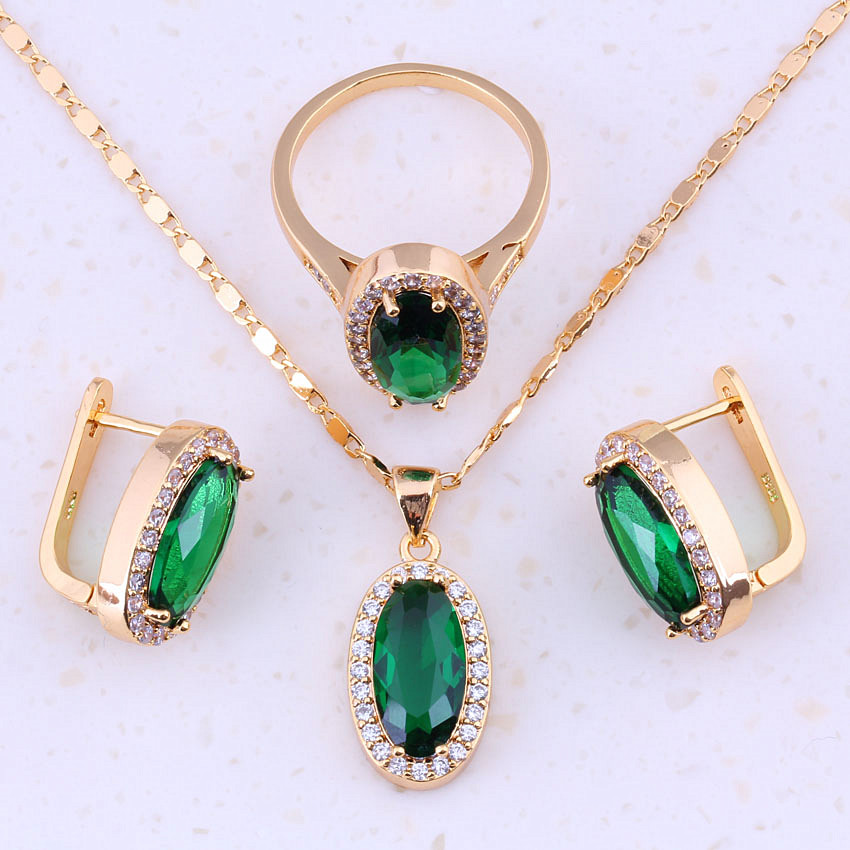 2017 New product Green Simulated Emerald & Cubic Zircon ...
