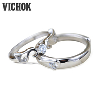 VICHOK Fashion Crown 925 Sterling Silver Platinum Plated For Women Men Prong Setting Resizable Jewelry Lover