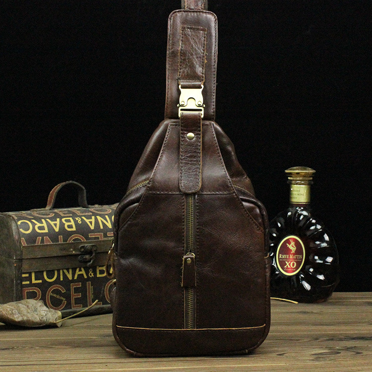 Nesitu Brown Vintage 100% Guarantee Real Skin Genuine Leather Cowhide Women / Men Chest Bags Men Messenger Bags #M8101 nesitu vintage 100