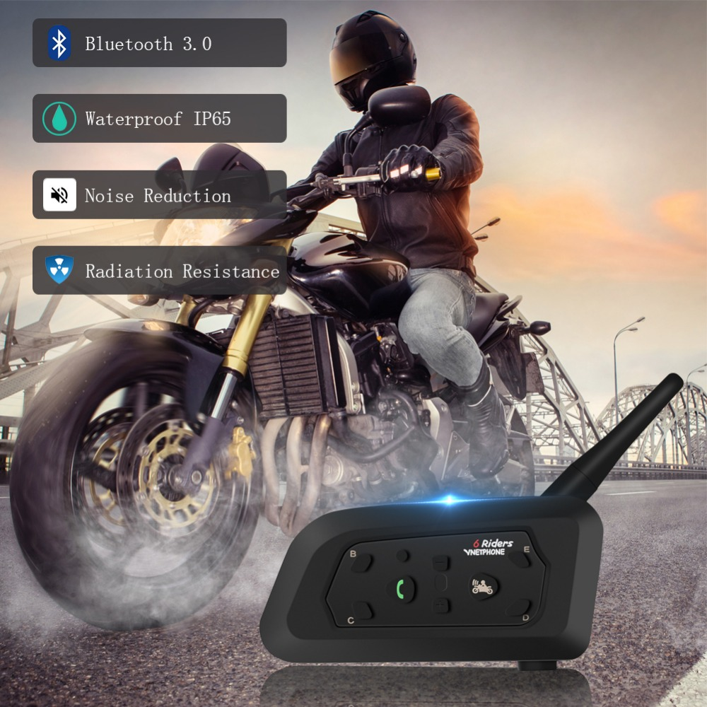Wireless Motorcycle Helmet Intercom Multi-Function Heltmet Headset 1200m Bluetooh Interphone Headset For 6 Riders IP65 MP3 GPS
