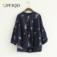 QPFJQD 2017 Autumn Retro Mori Girl Floral Embroidery Blouse Women S Stand Collar O Neck Flare