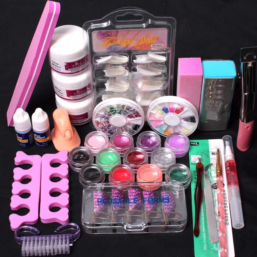 Pro 24 in 1 Acrylic Nail Art Tips Liquid Buffer Glitter Deco Tools Full Kit Set Y501