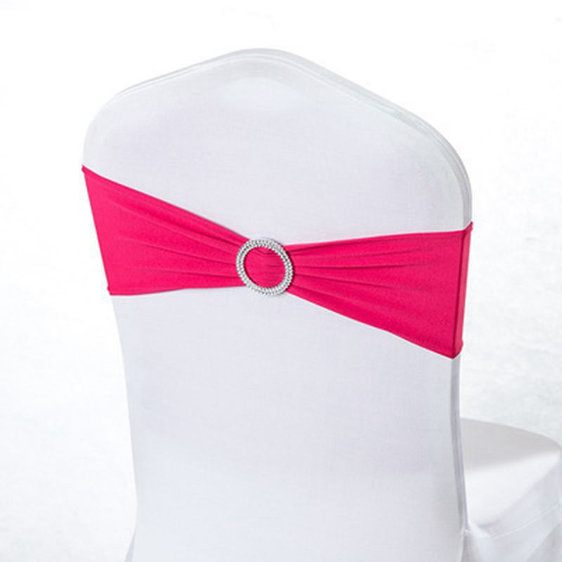 Stretch Lycra Chair Sash Bows Elastic Spandex Chair Band Ribbon With Heart Buckle For Hotel Wedding