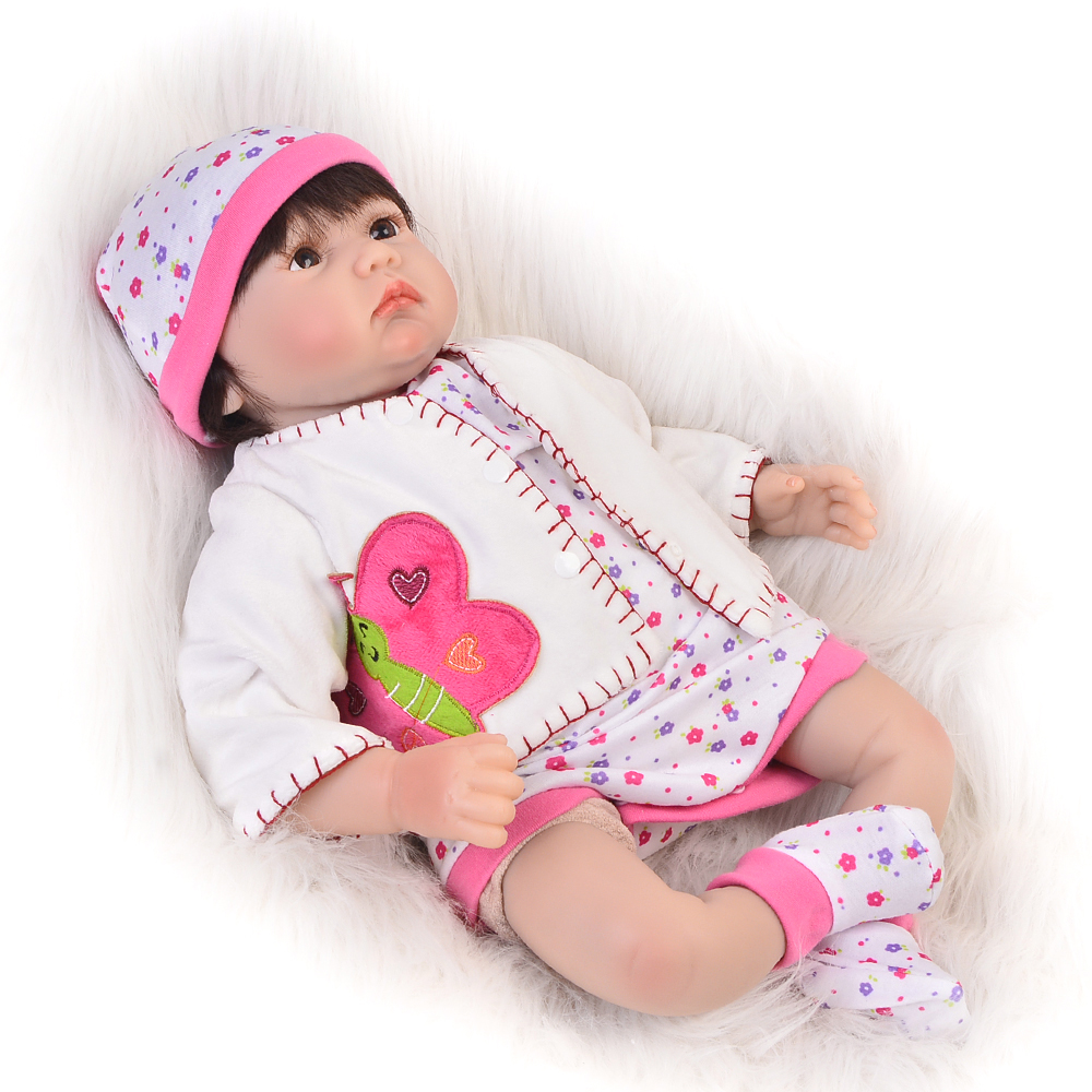 22 Inch Reborn Baby Dolls Toy Soft Silicone Realistic Newborn Baby Doll Lifelike Babies Synthetic hair Kids Birthday Xmas Gift can sit and lie 22 inch reborn baby doll realistic lifelike silicone newborn babies with pink dress kids birthday christmas gift