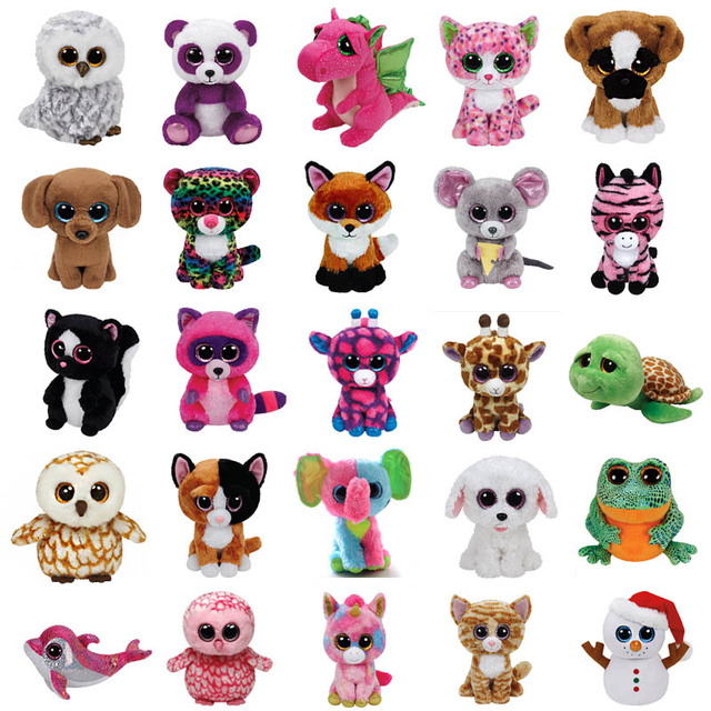 Ty Beanie Boos Plush Toys Beanie Babies Big Eyes Precious Pippie White Dog  Lavender Purple Lamb Glamour Giraffe Kawaii Baby Toys 8efec1cff982
