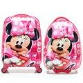 Girls Minnie Mouse rodar la maleta del equipaje / niños Hardside Trolley de viaje / escuela estudiante de dibujos animados sobre ruedas
