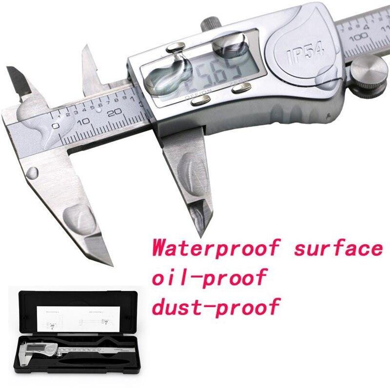 Calibre digital electrónico de acero inoxidable pinza impermeable IP54 Digitale Messschieber paquimetro Vernier digital calibrador herramienta