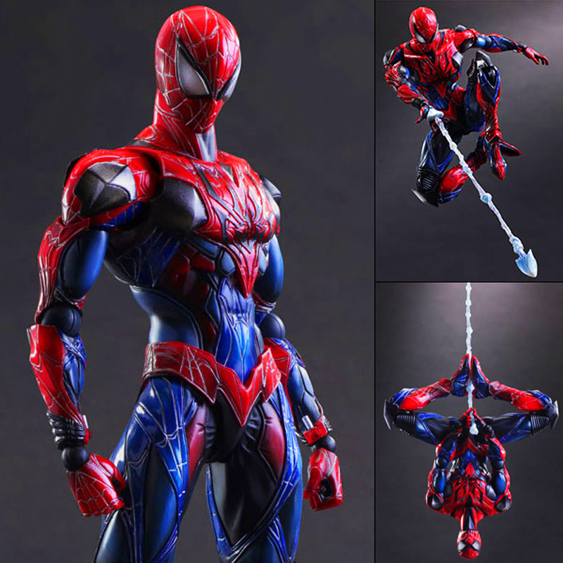 Play Arts Kai Spider Man Spider Venom Spider Super Hero PA Secret Wars Peter Parker 27cm PVC Action Figure Doll Toys Kids Gift