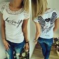 2017 Women Letter Cotton T shirt Back Hollow Angel Wings T-shirt Tops Summer Women Lace Short Sleeve O Neck Tops