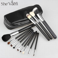 Free Shipping High Quality Professional Cosmetic Makeup Brush Set 12 Pcs Brush Kit With Leather Bag