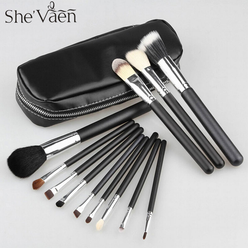Professional Cosmetics Makeup Brush Set 12Pcs Brushes Cosmetic Kit Leather Bag Pouch Brand Make UP Tool 23 pieces professional versatile portable makeup brush set cosmetics brushes kit make up maquillaje with grass green pouch bag