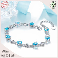 Kaliteli Moda Ve Asil Mavi Aşk Kalp Taş 925 Ayar Gümüş Takı Bilezik
