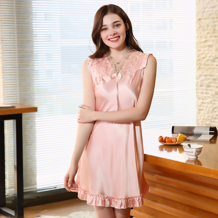 Lace Summer Women   Nightgowns   2018 Faux Silk Home Dressing Gown For Women Fashion Lace Sexy   Sleepshirts   Sleep And Leisure SQ017