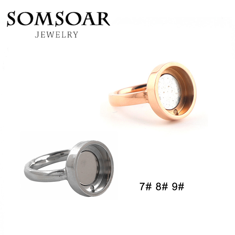 Somsoar Jewelry 7# 8# 9# Three Size Carpe Diem interchangeable Cambio Ring fit 12mm Magentic Coin for women gift 10pcs/lot ...